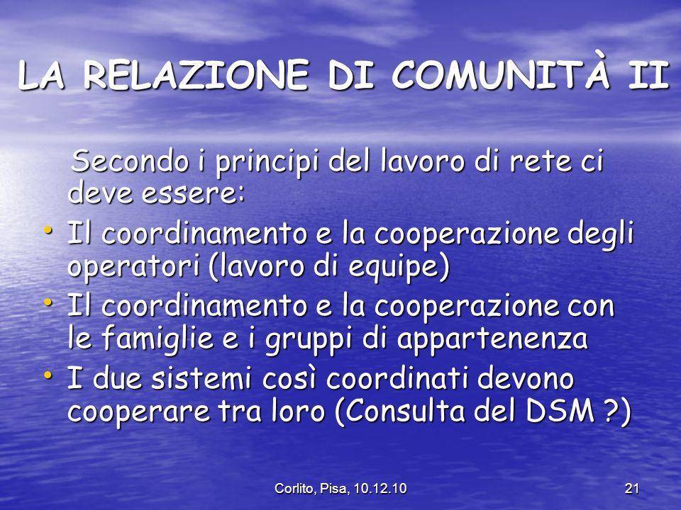 LA RELAZIONE DI COMUNITÀ II