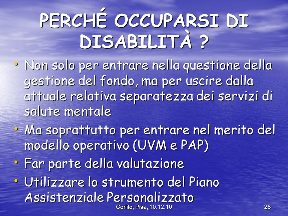 PERCHÉ OCCUPARSI DI DISABILITÀ