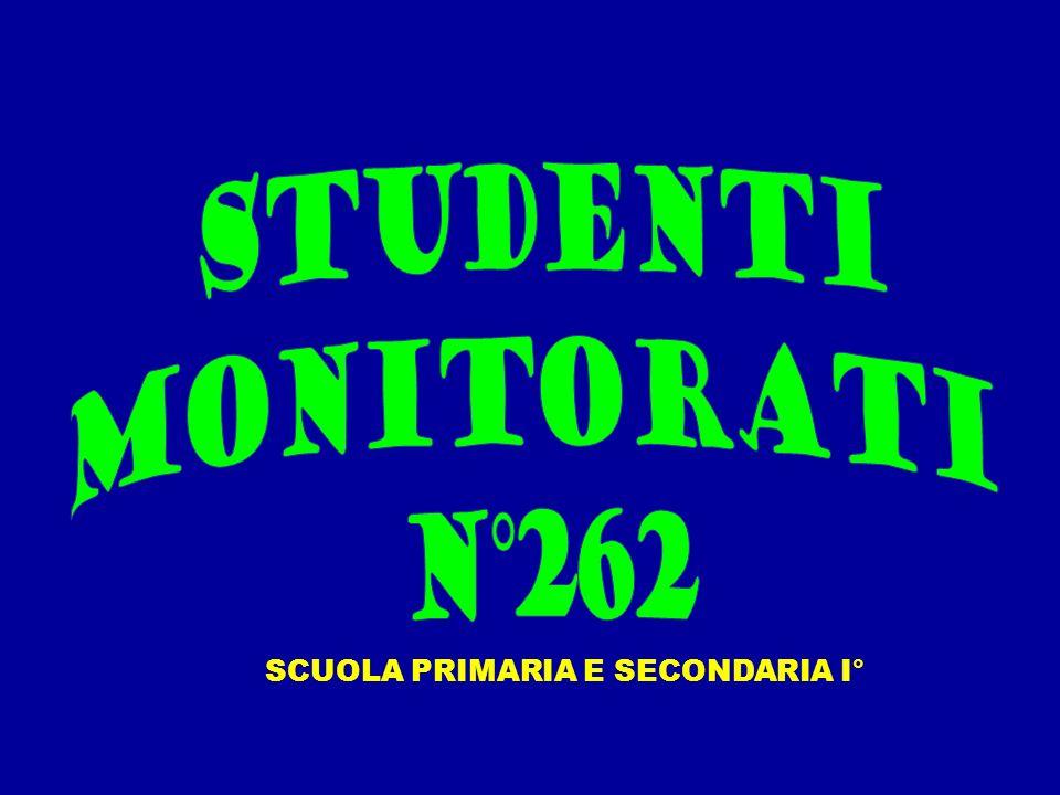 STUDENTI MONITORATI N°262 SCUOLA PRIMARIA E SECONDARIA I°