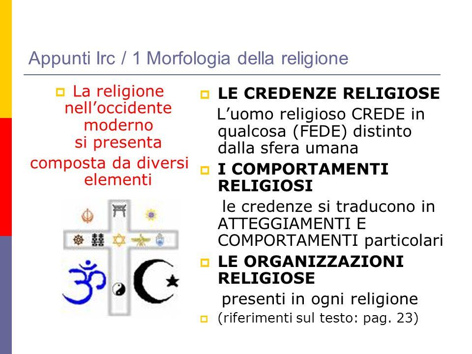 Appunti Irc / 1 Morfologia della religione