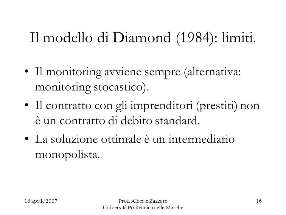 Il modello di Diamond (1984): limiti.