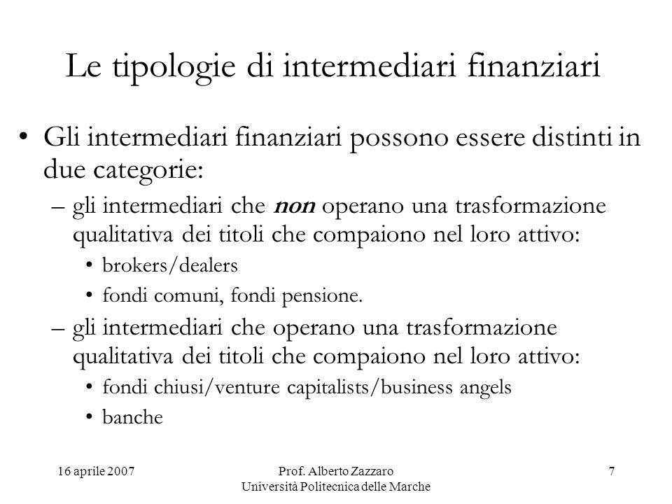 Le tipologie di intermediari finanziari
