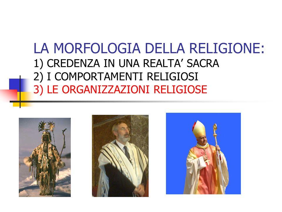 LA MORFOLOGIA DELLA RELIGIONE: 1) CREDENZA IN UNA REALTA' SACRA 2) I COMPORTAMENTI RELIGIOSI 3) LE ORGANIZZAZIONI RELIGIOSE