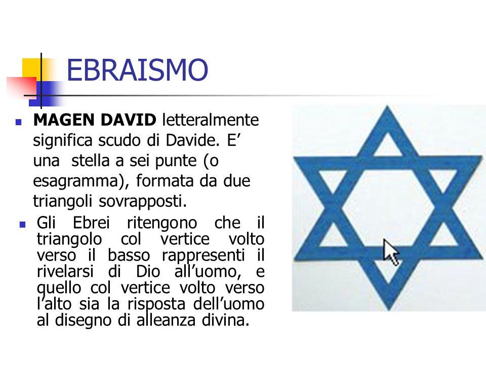 EBRAISMO MAGEN DAVID letteralmente significa scudo di Davide. E' una stella a sei punte (o esagramma), formata da due triangoli sovrapposti.