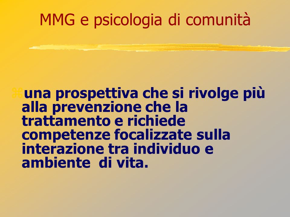 MMG e psicologia di comunità