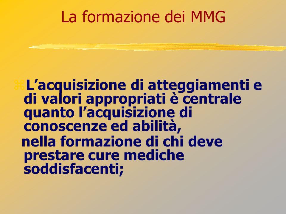 La formazione dei MMG L'acquisizione di atteggiamenti e di valori appropriati è centrale quanto l'acquisizione di conoscenze ed abilità,
