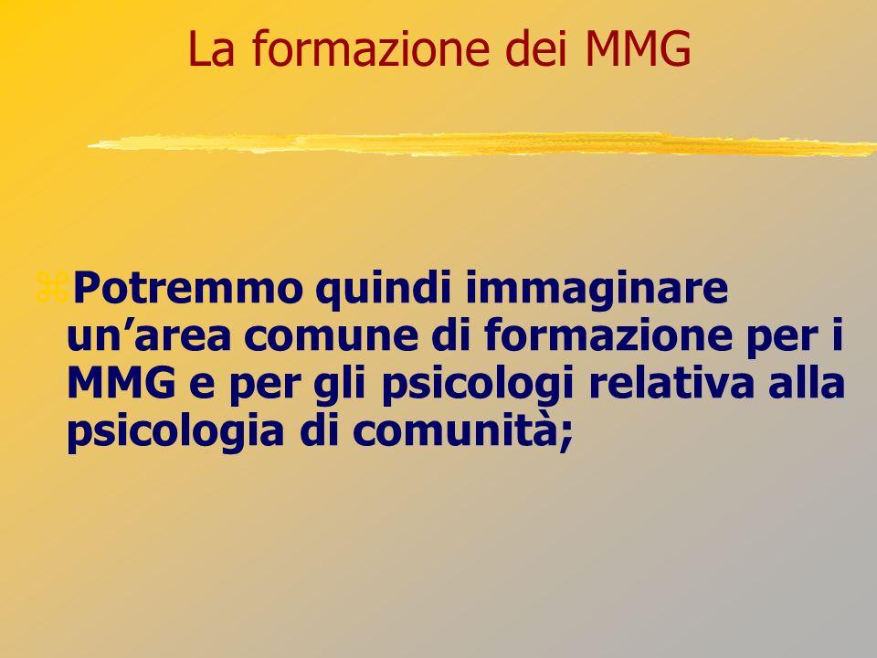 La formazione dei MMG Potremmo quindi immaginare un'area comune di formazione per i MMG e per gli psicologi relativa alla psicologia di comunità;
