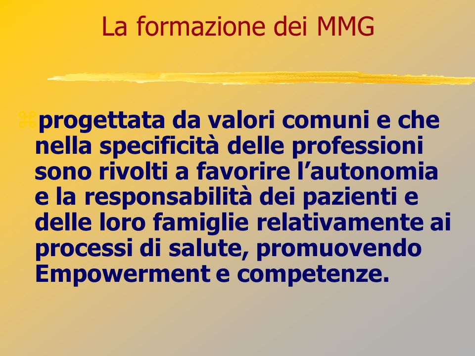 La formazione dei MMG