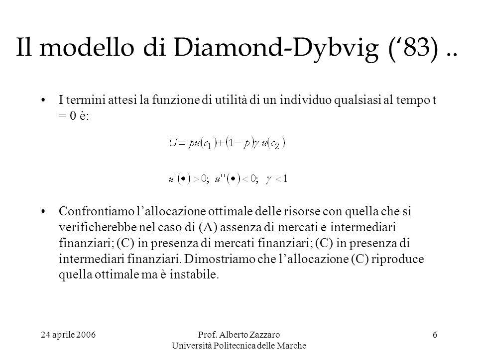 Il modello di Diamond-Dybvig ('83) ..