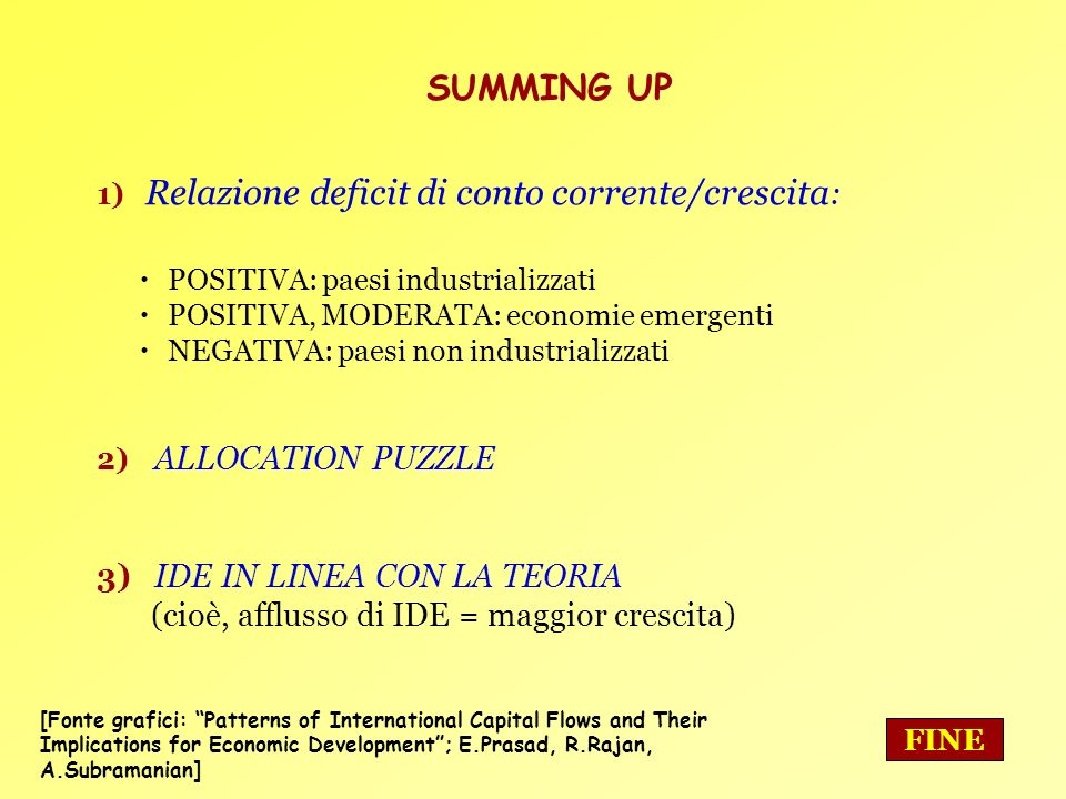 SUMMING UP 3) IDE IN LINEA CON LA TEORIA