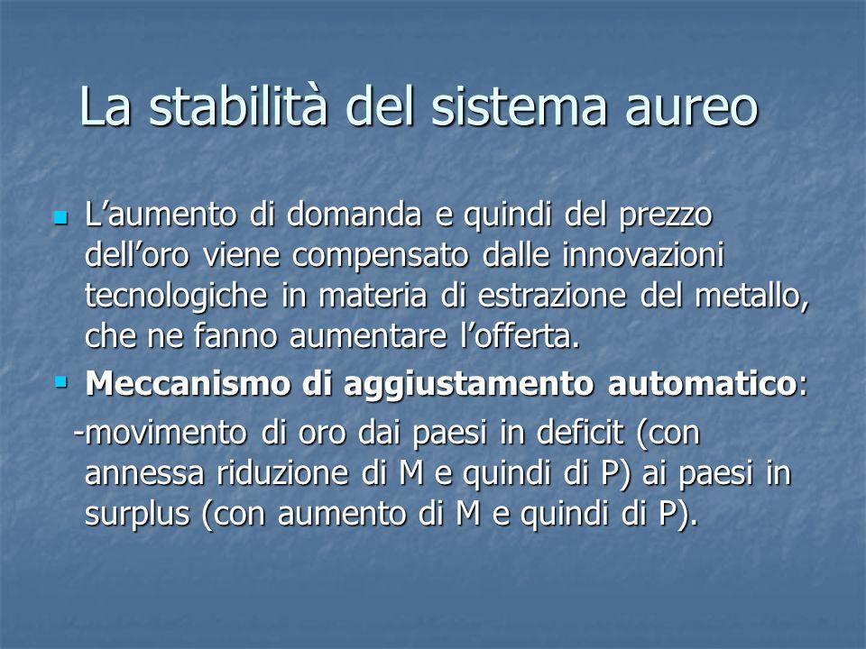 La stabilità del sistema aureo