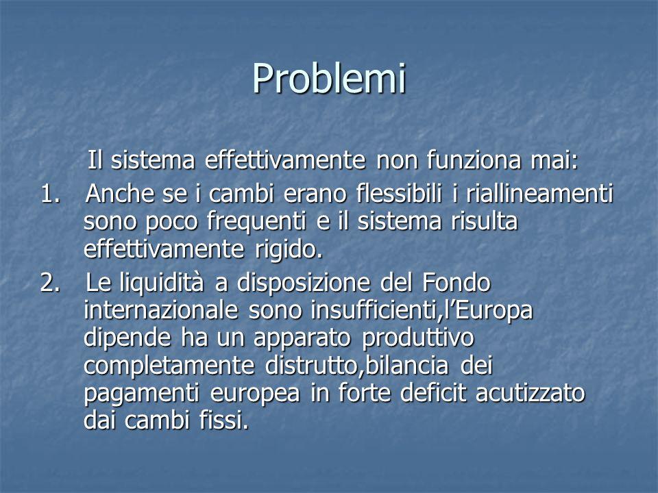 Problemi Il sistema effettivamente non funziona mai: