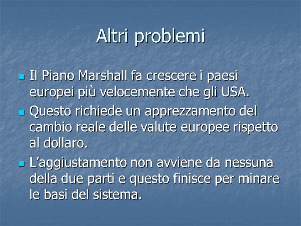 Altri problemi Il Piano Marshall fa crescere i paesi europei più velocemente che gli USA.