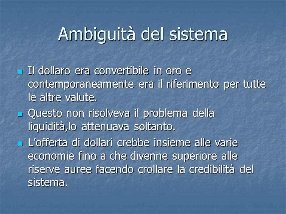 Ambiguità del sistema Il dollaro era convertibile in oro e contemporaneamente era il riferimento per tutte le altre valute.