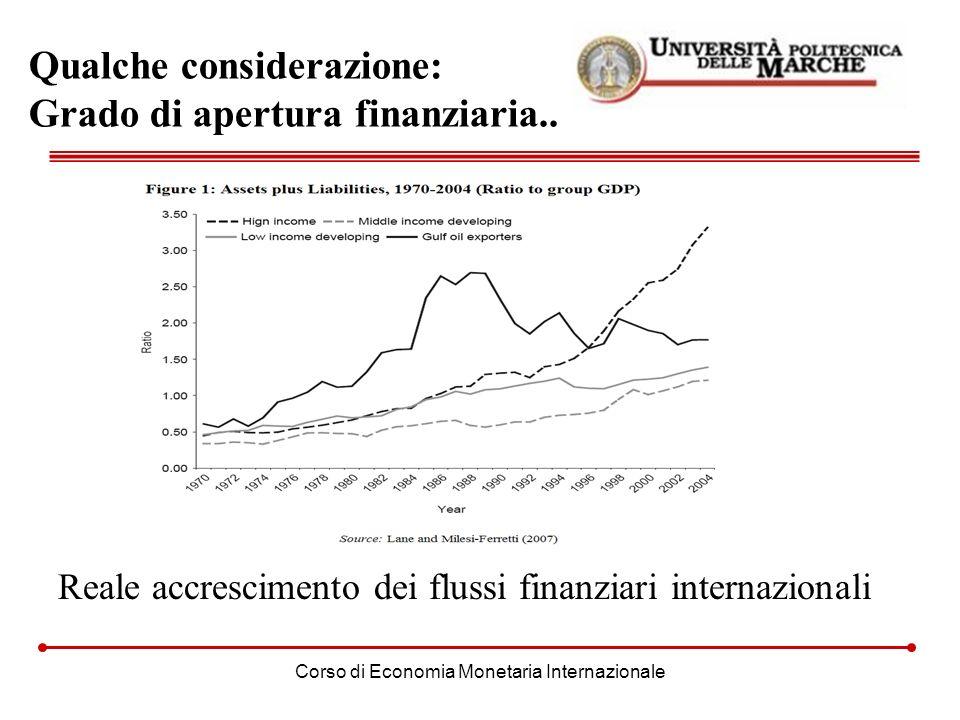 Qualche considerazione: Grado di apertura finanziaria..