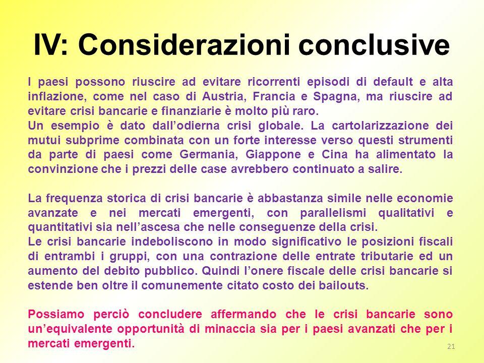 IV: Considerazioni conclusive