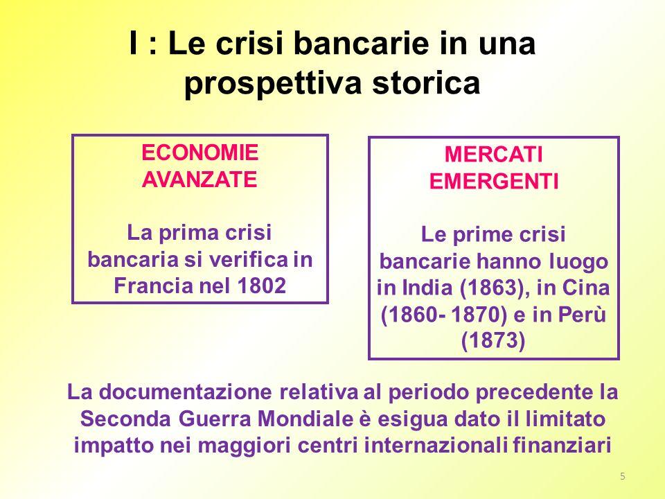 I : Le crisi bancarie in una prospettiva storica