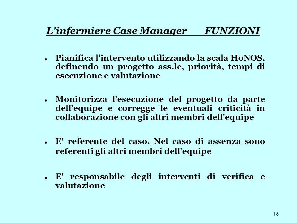 L infermiere Case Manager FUNZIONI