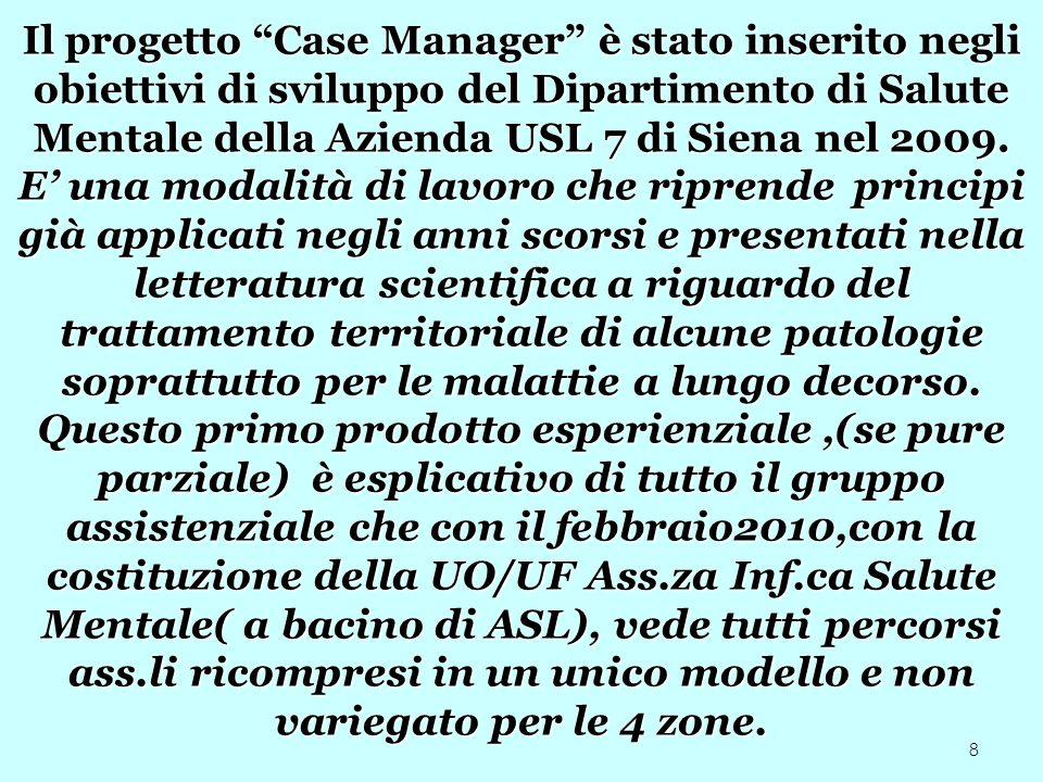 Il progetto Case Manager è stato inserito negli obiettivi di sviluppo del Dipartimento di Salute Mentale della Azienda USL 7 di Siena nel 2009.