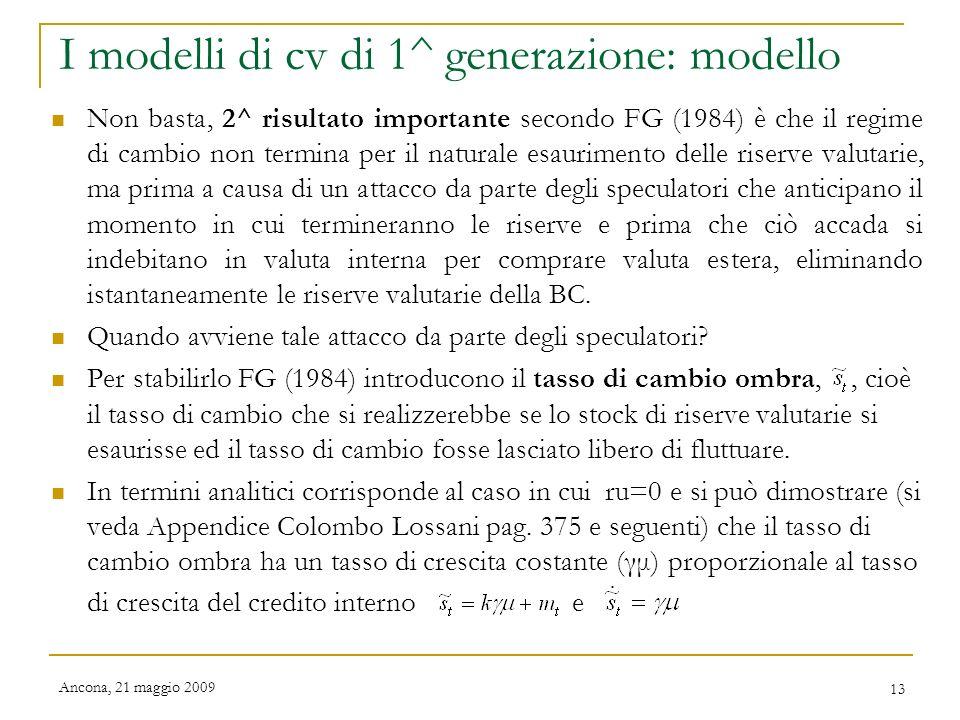 I modelli di cv di 1^ generazione: modello