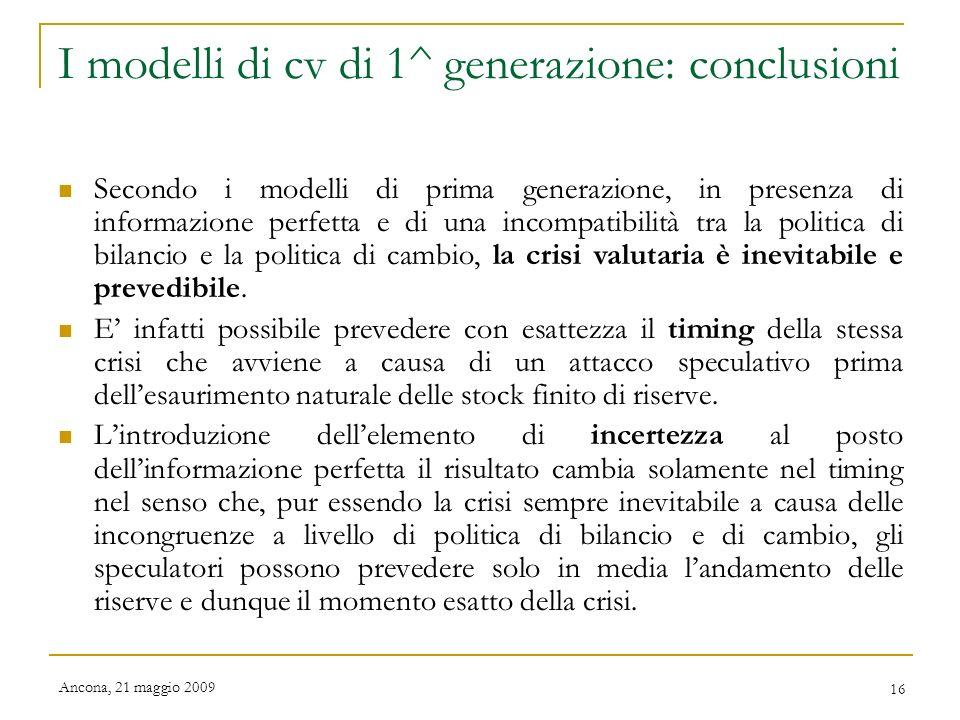 I modelli di cv di 1^ generazione: conclusioni
