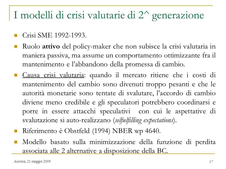 I modelli di crisi valutarie di 2^ generazione