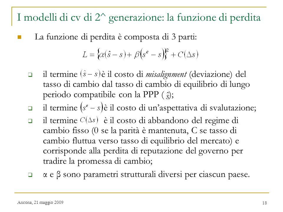 I modelli di cv di 2^ generazione: la funzione di perdita