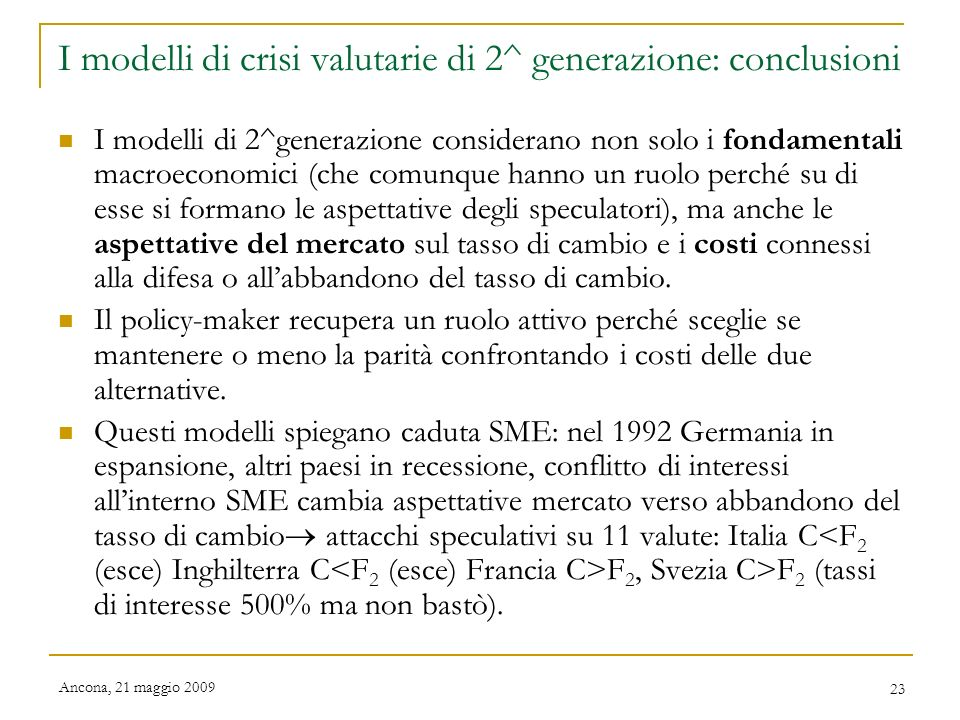 I modelli di crisi valutarie di 2^ generazione: conclusioni