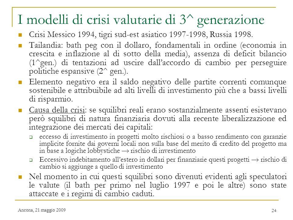 I modelli di crisi valutarie di 3^ generazione