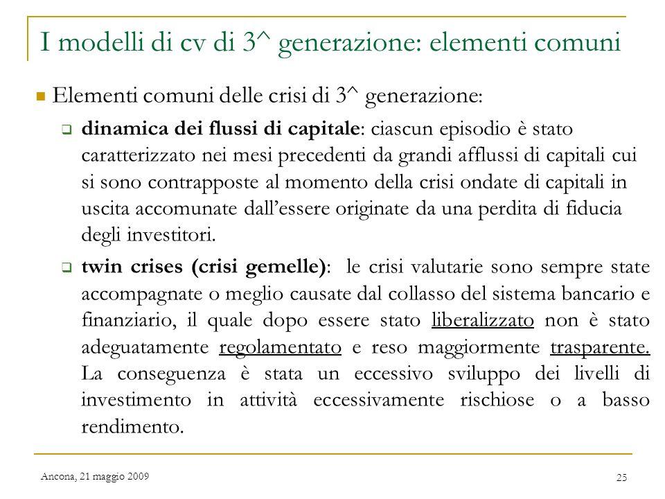 I modelli di cv di 3^ generazione: elementi comuni