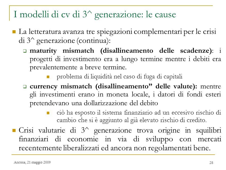 I modelli di cv di 3^ generazione: le cause