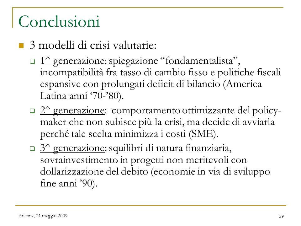 Conclusioni 3 modelli di crisi valutarie: