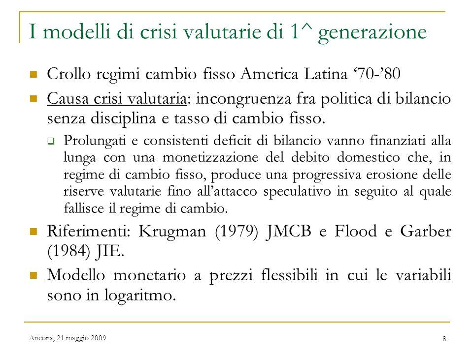 I modelli di crisi valutarie di 1^ generazione