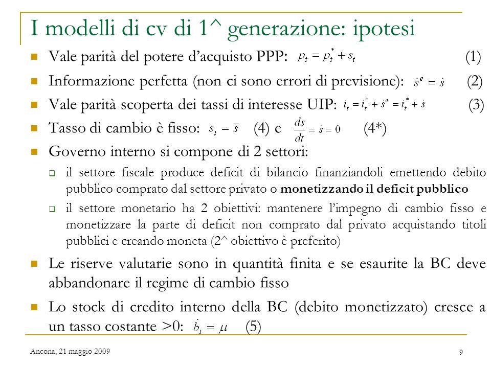 I modelli di cv di 1^ generazione: ipotesi