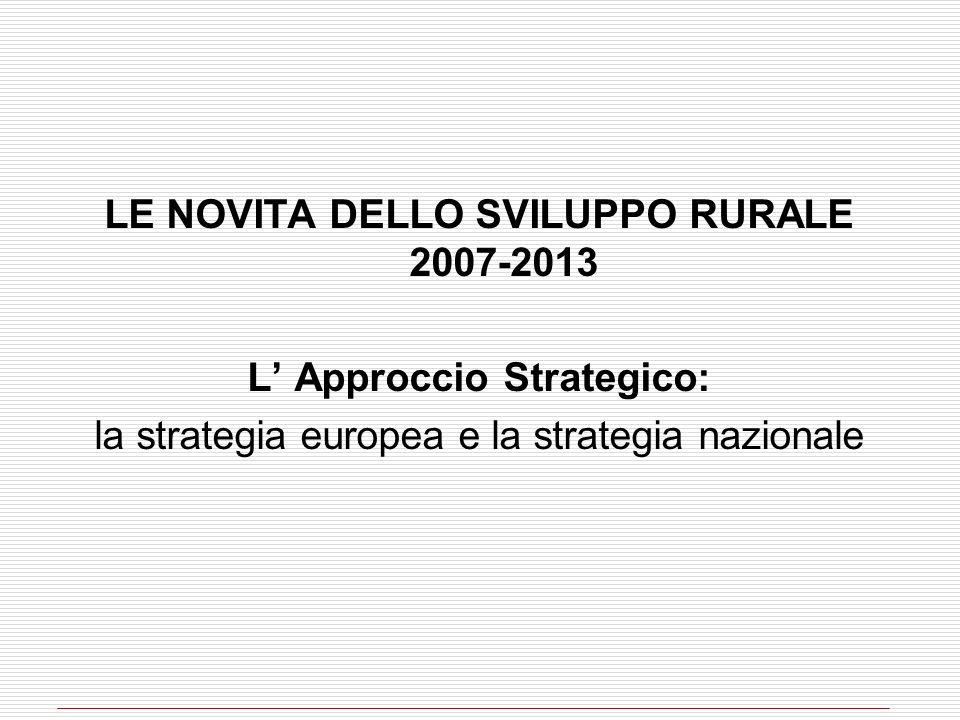 LE NOVITA DELLO SVILUPPO RURALE 2007-2013 L' Approccio Strategico:
