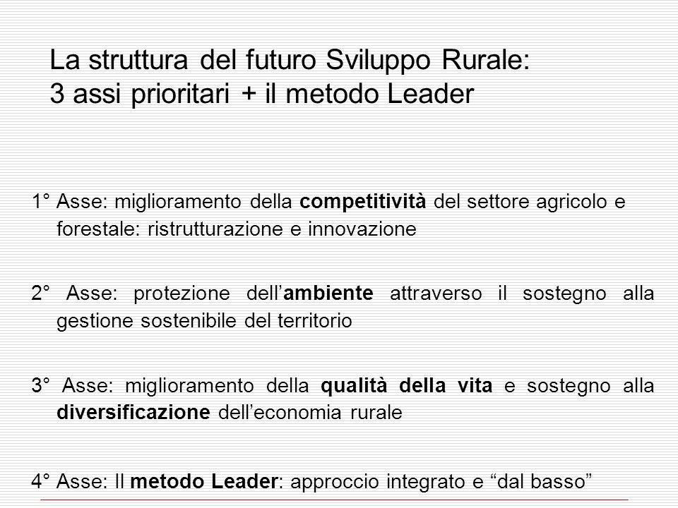 La struttura del futuro Sviluppo Rurale: 3 assi prioritari + il metodo Leader