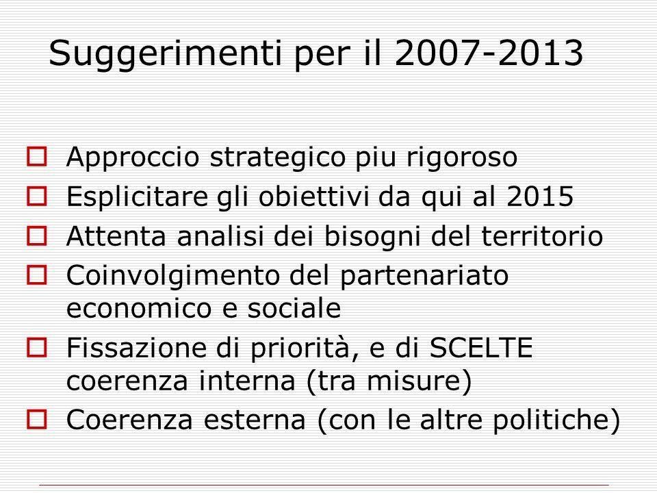 Suggerimenti per il 2007-2013 Approccio strategico piu rigoroso