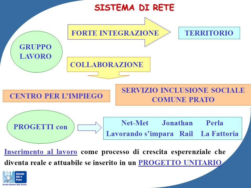SISTEMA DI RETE FORTE INTEGRAZIONE TERRITORIO GRUPPO LAVORO
