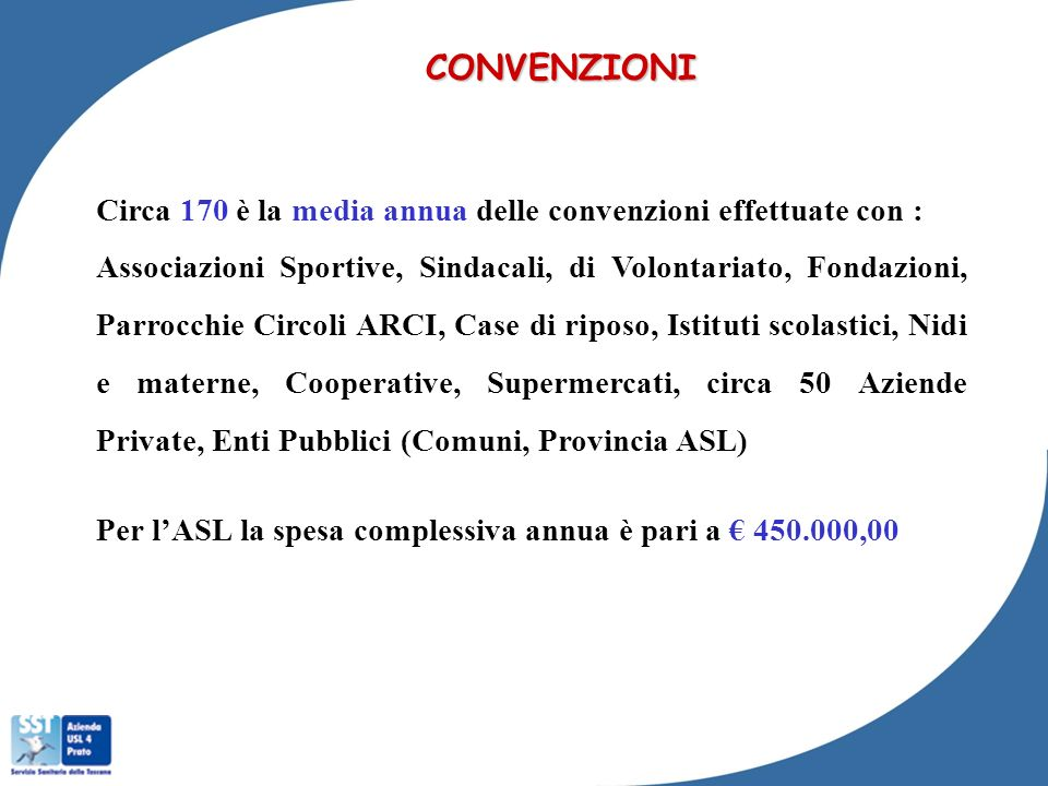 CONVENZIONICirca 170 è la media annua delle convenzioni effettuate con :