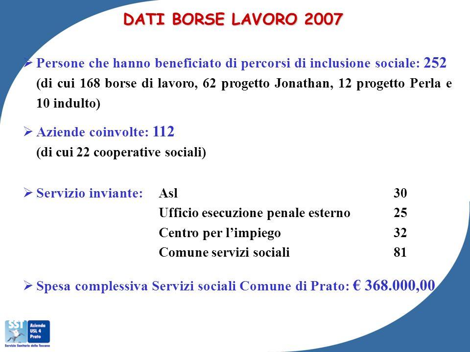 DATI BORSE LAVORO 2007 Persone che hanno beneficiato di percorsi di inclusione sociale: 252.