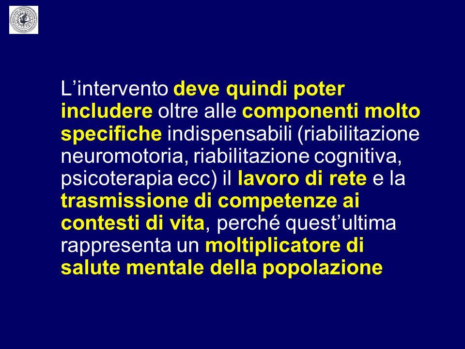 L'intervento deve quindi poter includere oltre alle componenti molto specifiche indispensabili (riabilitazione neuromotoria, riabilitazione cognitiva, psicoterapia ecc) il lavoro di rete e la trasmissione di competenze ai contesti di vita, perché quest'ultima rappresenta un moltiplicatore di salute mentale della popolazione