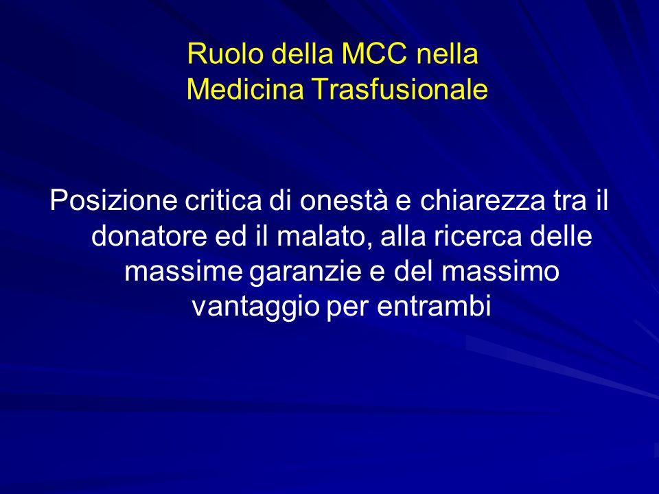 Ruolo della MCC nella Medicina Trasfusionale