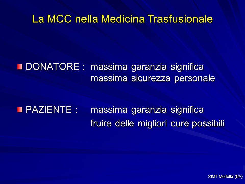 La MCC nella Medicina Trasfusionale