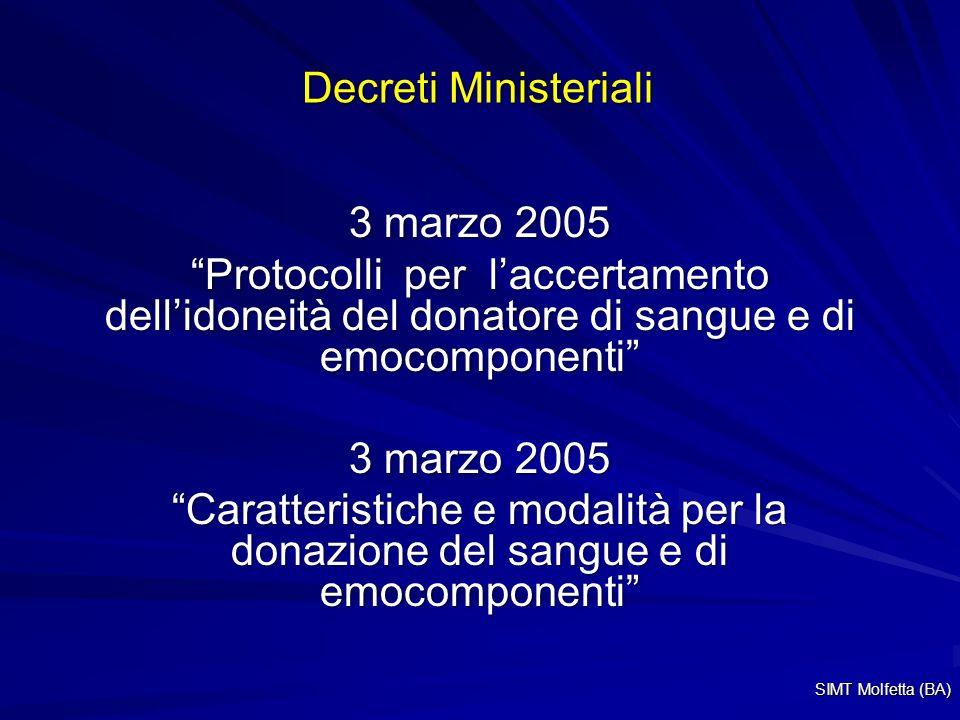 Decreti Ministeriali 3 marzo 2005