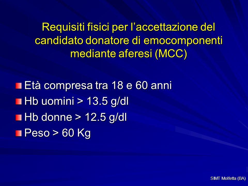 Requisiti fisici per l'accettazione del candidato donatore di emocomponenti mediante aferesi (MCC)