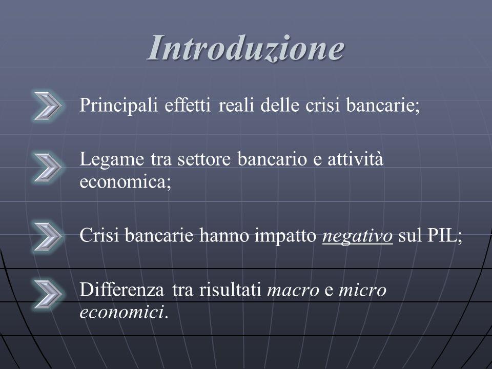 Introduzione Principali effetti reali delle crisi bancarie;