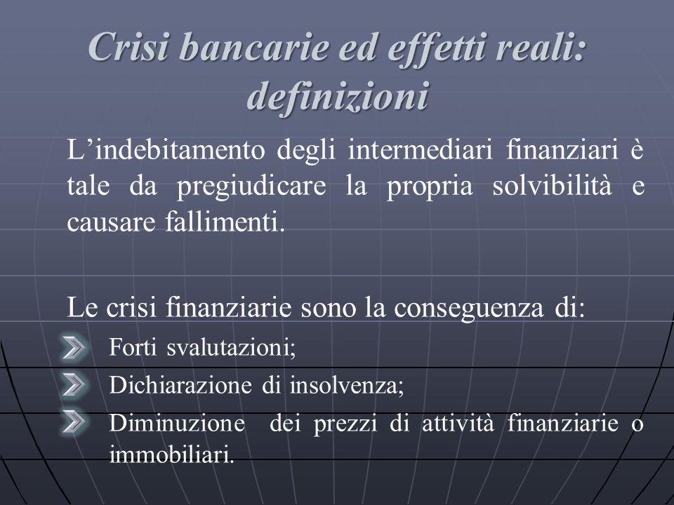 Crisi bancarie ed effetti reali: definizioni