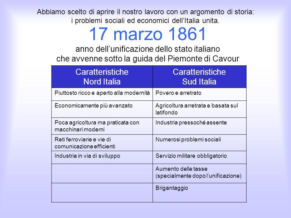 Abbiamo scelto di aprire il nostro lavoro con un argomento di storia: i problemi sociali ed economici dell'Italia unita.
