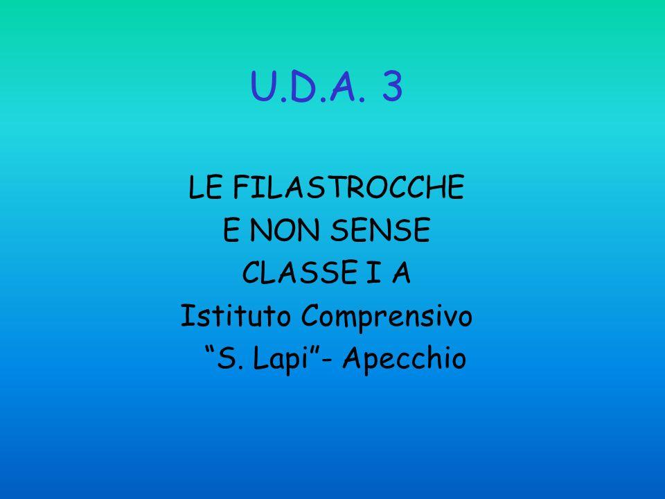 U.D.A. 3 LE FILASTROCCHE E NON SENSE CLASSE I A Istituto Comprensivo