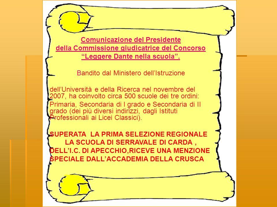 Comunicazione del Presidente